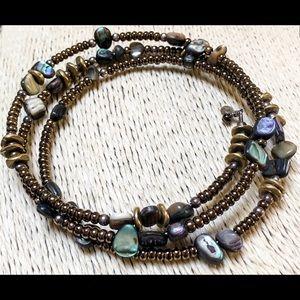 SILPADA Bronze Glass Bead Bracelet Abalone 925